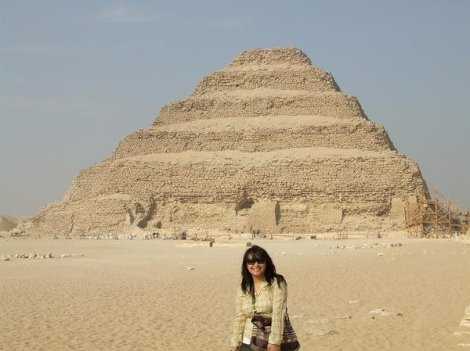 At Pyramid of Djoser. Being myself and can't keep still for a photo